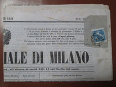 "Lombardy Venetia, 1851 – Mercurio 3 cent on ""Gazzetta Ufficiale di Milano"" from 08/10/1851 – Sass. No. 1."