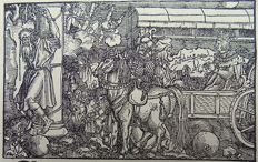 Master of Petrach [Hans Weiditz 1495-1537] - Medieval Woodcut. Triumphal Procession; Military Victory - 1544