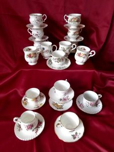 13 Beautiful English cups and saucers with gold leaf & 4 mugs.