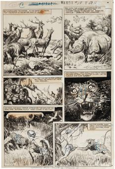 "Original Art Page by Henry Carl Kiefer - Wambi #18, ""King of the Monkeys"" - Page 3 (Fiction House, 1952)"