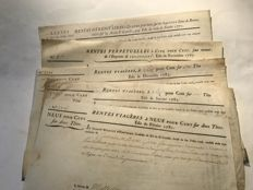 Royal loans printed on parchment - 5 annuities - 1770 / 1787