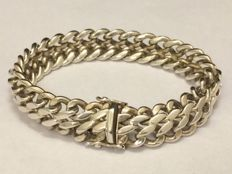 835 Silver bracelet with double curb links - 1960s - Length: 19 cm