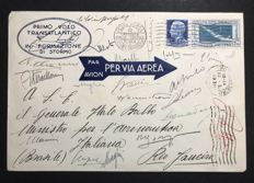 Kingdom of Italy 1930 - 7.70 Lire light blue and brown-grey, First Transatlantic Crossing, envelope with pilots' signatures - Sassone No.  25