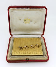 Cartier - Art Deco 18K Yellow Gold Vanity / Compact Box With Diamonds (0.20 CT Total)