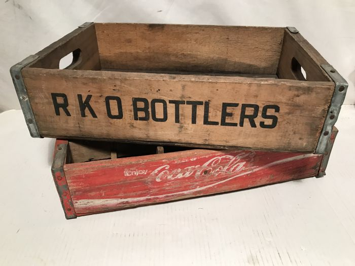 Two original vintage crates from the USA, Coca-Cola / RKO Bottlers (rare) - from the 1970s.