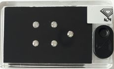 IGI Certified & Sealed  Natural Diamonds,  0.96Ct,  ***  5 Stone D BOX ***, G-HColor, SI Clarity