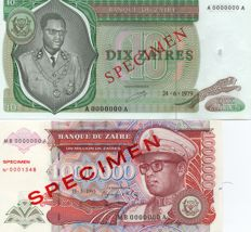 World - 7 specimen banknotes from 4 countries