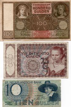 Netherlands - 10, 25 and 100 gulden - 1941/1944