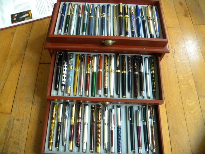 Superb Collection of 50 Pens with Iridium Germany Tips in a 3 Drawered Luxury Case