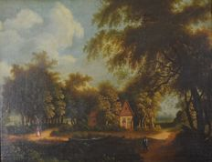 Continental school (19th century) - A wooded landscape with figures