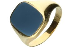 14 kt Yellow gold signet ring set with layered stone. - Ring size: 20.25 mm