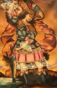 19Th Century Cuzco Colonial School  - Archangel Saint Raphael with fish
