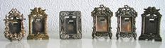 6 Silver plated French miniature photo frames - 19th century