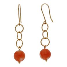 Yellow gold, 750/1000 (18 kt) - Earrings with coral, 8.75 mm (approx) - Length: 42.00 mm (approx)