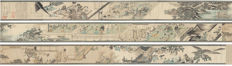 Litograph reproductie van een Edo era Scroll - Edo era artist (unsigned) - 6.3 meter lang  - Palace Life - Japan - 1890