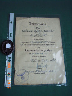 German Reich, WW2, Wounded badge in black with ownership certificate