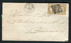 France 1851 - Announcement of the Marriage of Montpellier in double postage with a pair of Yvert n° 1 signed Calves