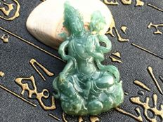 Myanmar natural grade A Jade Guanyin pendant send with jewelry appraisal certificate, 17.9 grams