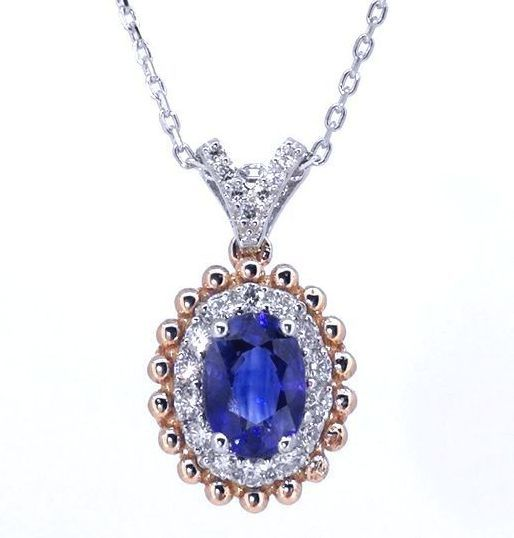 Necklace in white gold, 18 kt, with a wonderful sapphire of 1.13 ct with IGI certificate & 21 diamonds, 0.25 ct in total ###Free Shipping - Low Minimum Price###