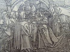 Master of Petrach [Hans Weiditz 1495-1537] - Medieval Woodcut. Marriage Ceremony - 1544