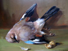 Raymond Van Hoeck (1922 - 1992) - Still life with poultry and nuts