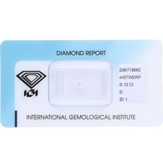 0.12 ct brilliant cut diamond, D SI1