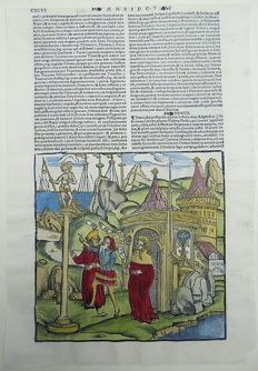 Gruninger Master; Virgil - Aeneid: Grave of Polydores - Handcolored - 1529