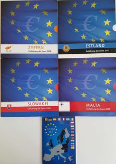 Europe - lot of 5 sets of Euros 2007/2011 - various countries in their first year of circulation 'Slovakia, Estonia, Malta, Solvenia, Cyprus'