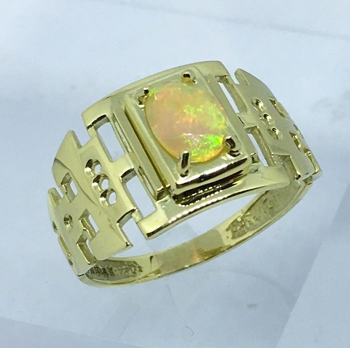 14kt Solid Gold Opal Mens Ring - size  11
