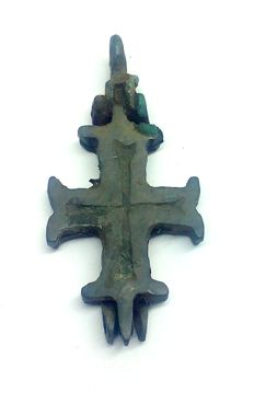 Medieval Crusaders reliquary (double cross - Enkolpion) pendant 40x18 mm