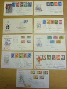 Netherlands 1951/1953 - Selection of FDCs from NVPH E6 to E15