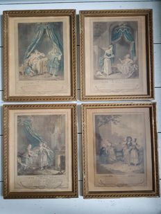 4 original engravings Sigmund Freudeberg (1745-1801) from 1774 in gold-coloured frames