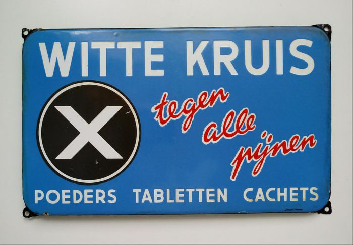 Oud Emaille Reclamebord Witte Kruis