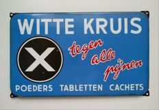 Old enamel advertising sign for Witte Kruis