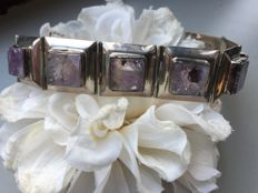 Vintage silver bracelet Mexico with Amethyst / 30 grams