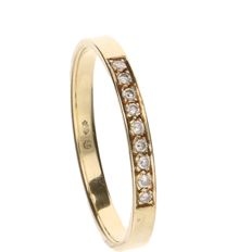 14 kt Yellow gold ring set with 9 brilliant cut diamonds of approx. 0.01 ct each - Ring size: 17.75 mm