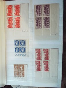 France 1937/1977 - Dated corners, Block of 4 and more