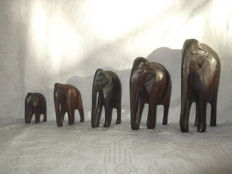 5 Kenyan wooden elephants engraved by hand