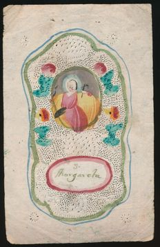 18 century canivet watercolour of the Holy S. Margareta, Flanders