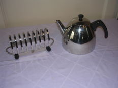Double-walled stainless steel 1.2 litre Bredemeijer Teapot with 8 slice toast holder Allex Meijer and co - stainless steel