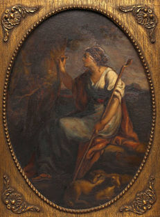 Follower of Angelica Kauffmann (19th century) - A shepherdess carving her name in a tree