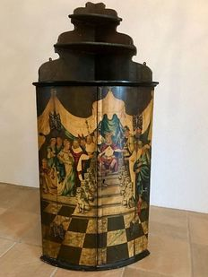 "A polychrome painted wooden corner cabinet or ""Amelander"" - The Netherlands - late 18th century"