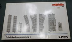Märklin H0 - 24905 - C-rail expansion set C5 with 2 electric points, electric double compound point and 4 buffer blocks