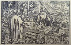 2 x Master of Petrach [Hans Weiditz 1495-1537] - Medieval Woodcut. Building, Architecture, Builders, Castle, Masonry - 1544