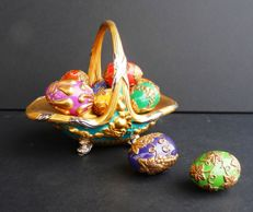 "House of Fabergé - ""Autum Egg Basket"" Collection - Porcelain -  24k gold plated finish"