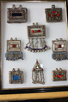 Set of 8 antique items of jewellery - Kuchi tribe - mid-20th century