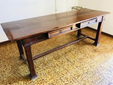 Antique walnut refectory table - early 20th century - Italy
