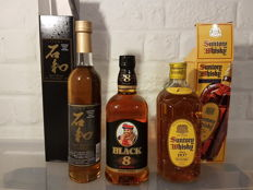 3 bottles - Nikka Black 8 year old (70cl) & Suntory Kakubin (70cl) & Isawa 10 year old (50cl)