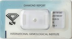 IGI Certified & Sealed Natural Diamond, 0.20 Ct, E Color, VS1 Clarity, *** NO RESERVE PRICE****