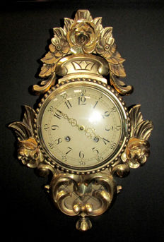 Antique Swedish Wall Clock Barocco Style - 1940s